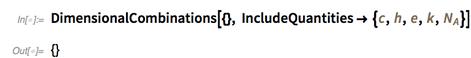 DimensionalCombinations[{}, IncludeQuantities