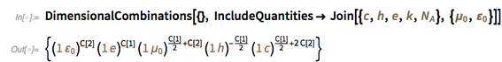 DimensionalCombinations[{}, IncludeQuantities -> Join