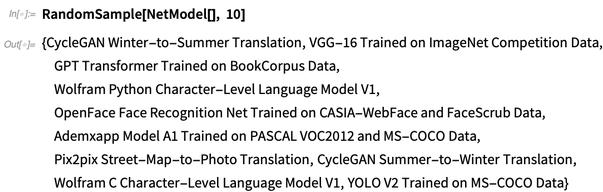 RandomSample[NetModel[], 10]