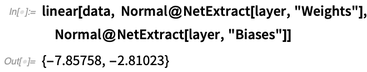 """linear[data, Normal@NetExtract[layer, """"Weights""""]"""