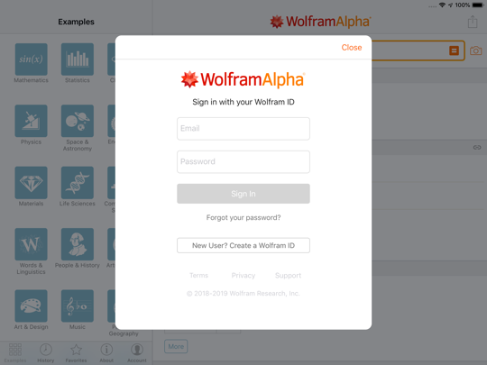 New Wolfram|Alpha in-app sign-in form