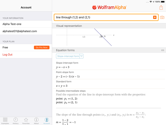 Subscribe to Wolfram|Alpha Pro using the Go Pro Now button