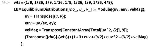 wts = {1/9, 1/36, 1/9, 1/36, 1/9, 1/36, 1/9, 1/36, 4/9};