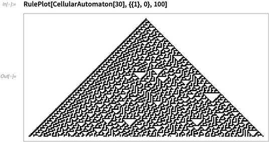 RulePlot[CellularAutomaton[30],{{1},0},100]