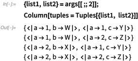 {list1, list2} = args