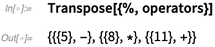 Transpose[{%, operators}]