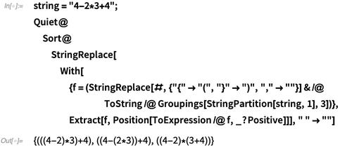 """string = """"4-2*3+4"""";"""