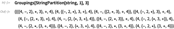 Groupings[StringPartition[string, 1], 3]