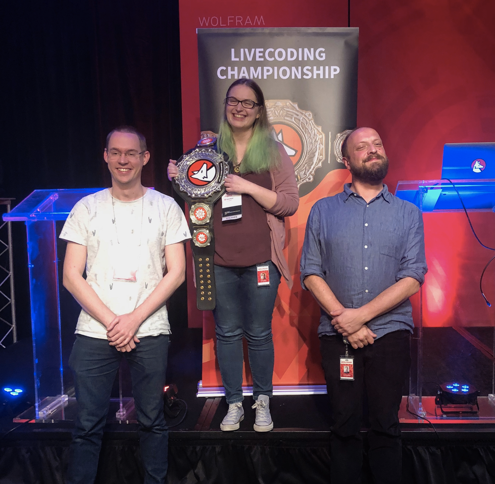 2019 Livecoding Champion Gerli Jogeva (center) with Carlo Barbieri (right) and Sander Huisman (left)