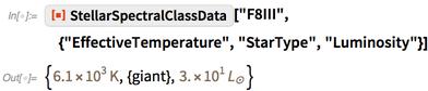 "ResourceFunction[""StellarSpectralClassData""][""F8III"","