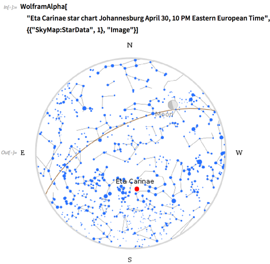 Eta Carinae star chart Johannesburg April 30, 10pm Eastern European Time