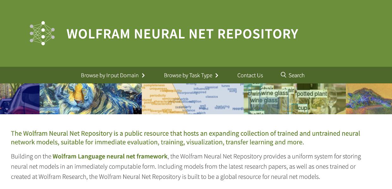 Wolfram Neural Net Repsitory