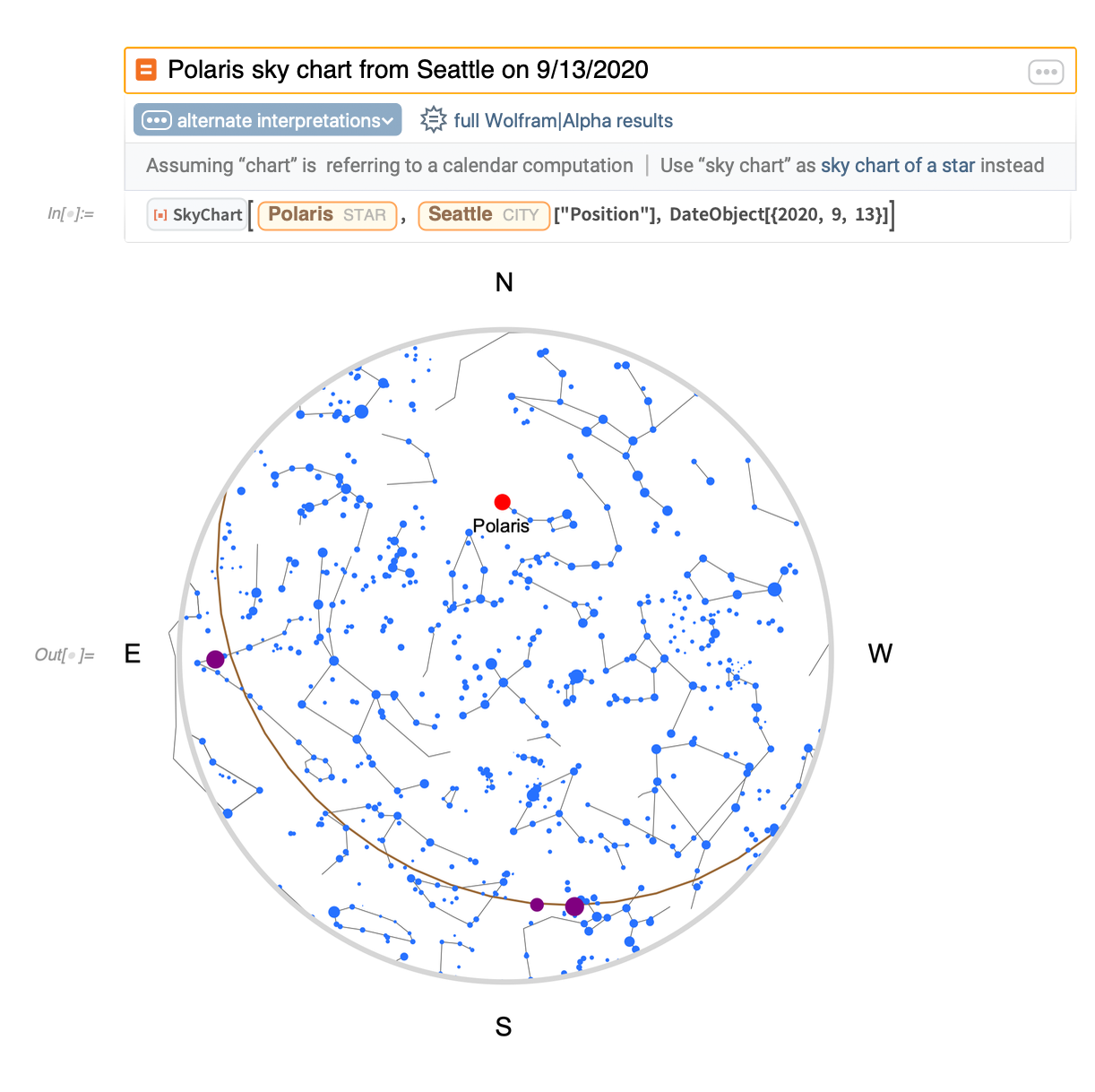 Polaris sky chart from Seattle on 9/13/2020