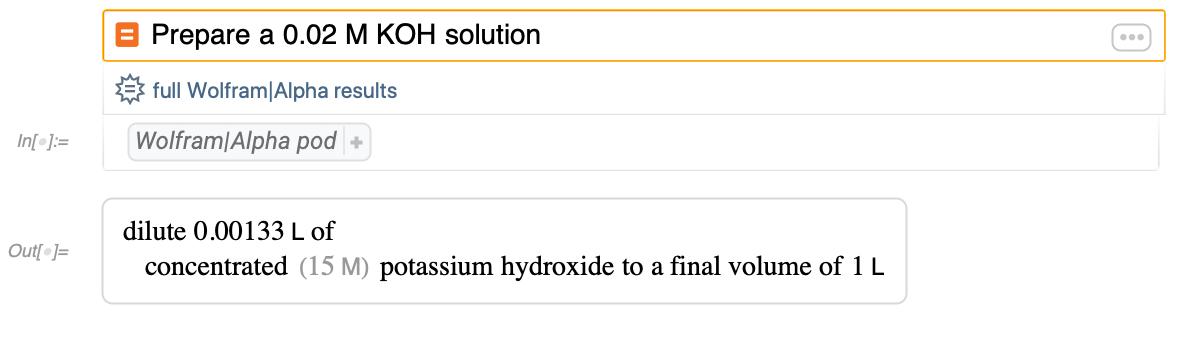 Prepare a 0.02 M KOH solution
