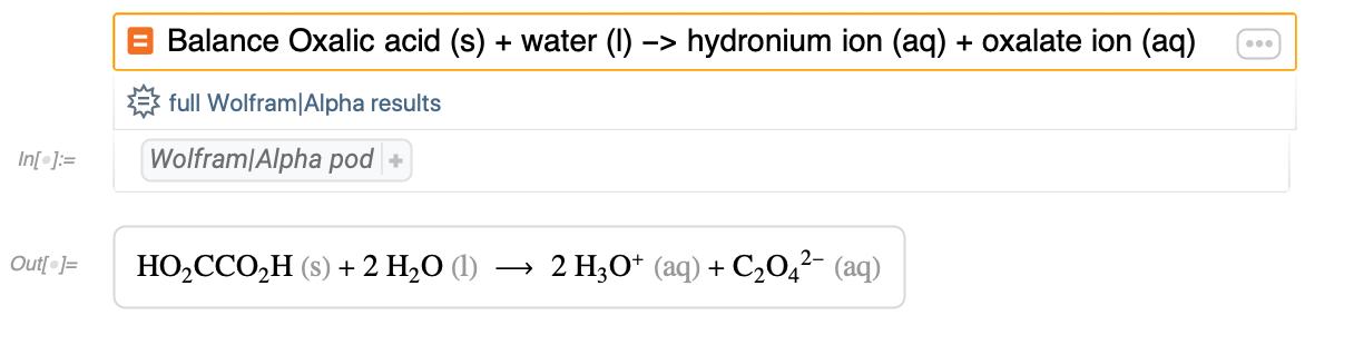 Balance Oxalic acid