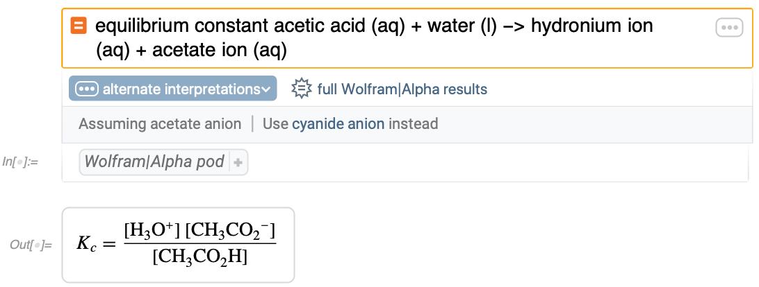 equilibrium constant acetic acid