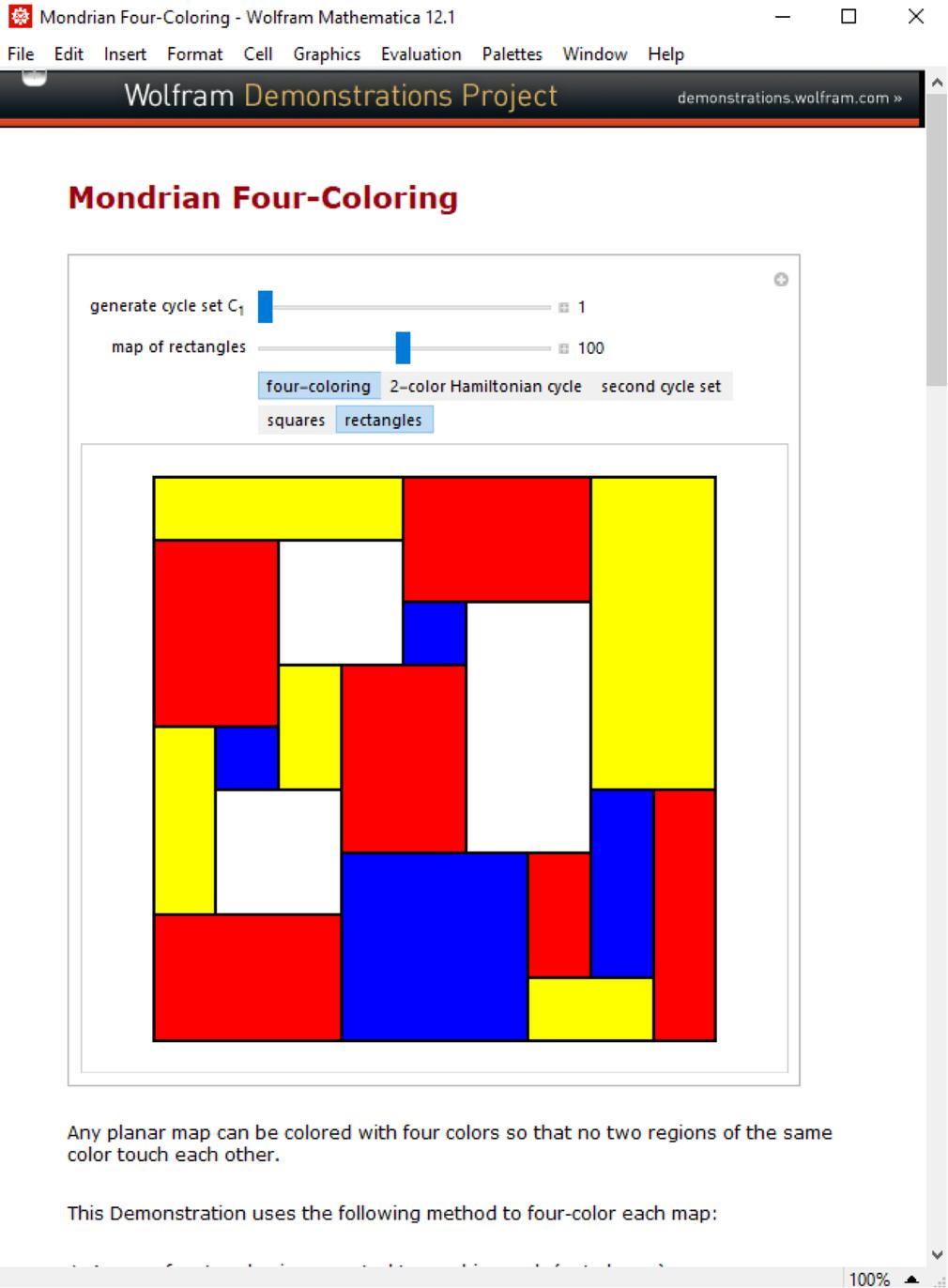 Mondrian Four-Coloring