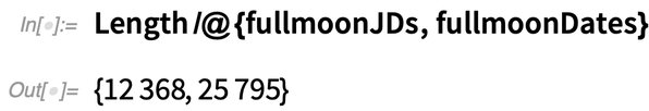 Length /@ {fullmoonJDs, fullmoonDates}