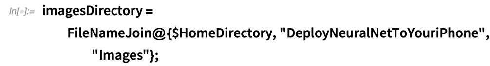 "imagesDirectory = FileNameJoin@{$HomeDirectory, ""DeployNeuralNetToYouriPhone"", ""Images""};"