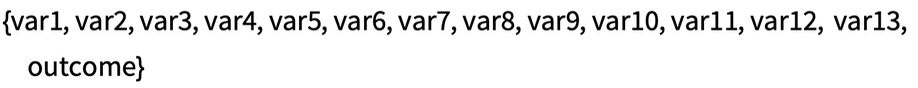 {var1, var2, var3, var4, var5, var6, var7, var8, var9, var10, var11, \ var12, var13, outcome}