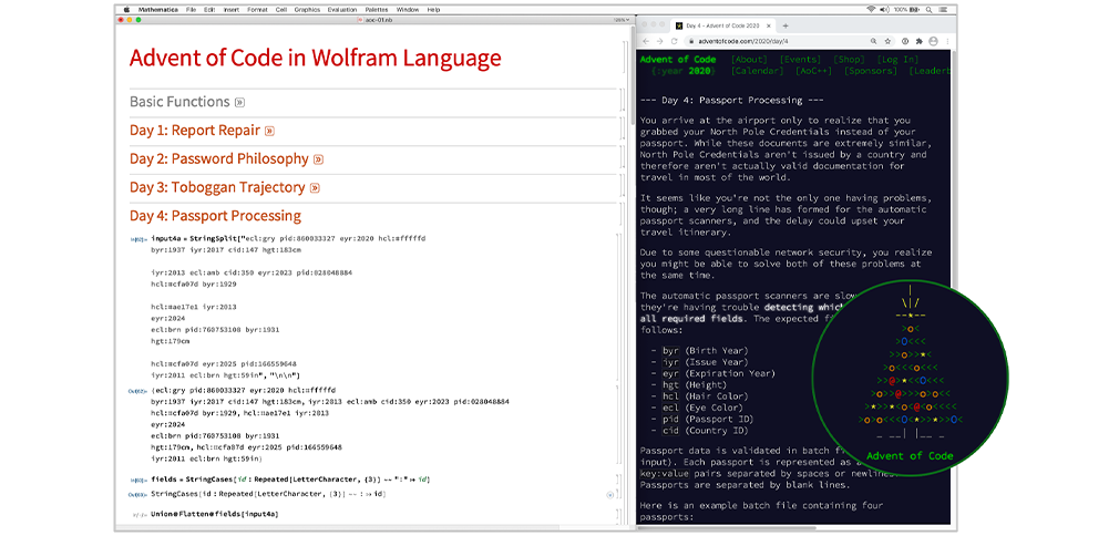 The Advention of Coding: Advent of Code Solutions in the Wolfram Language