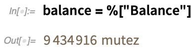 balance = %