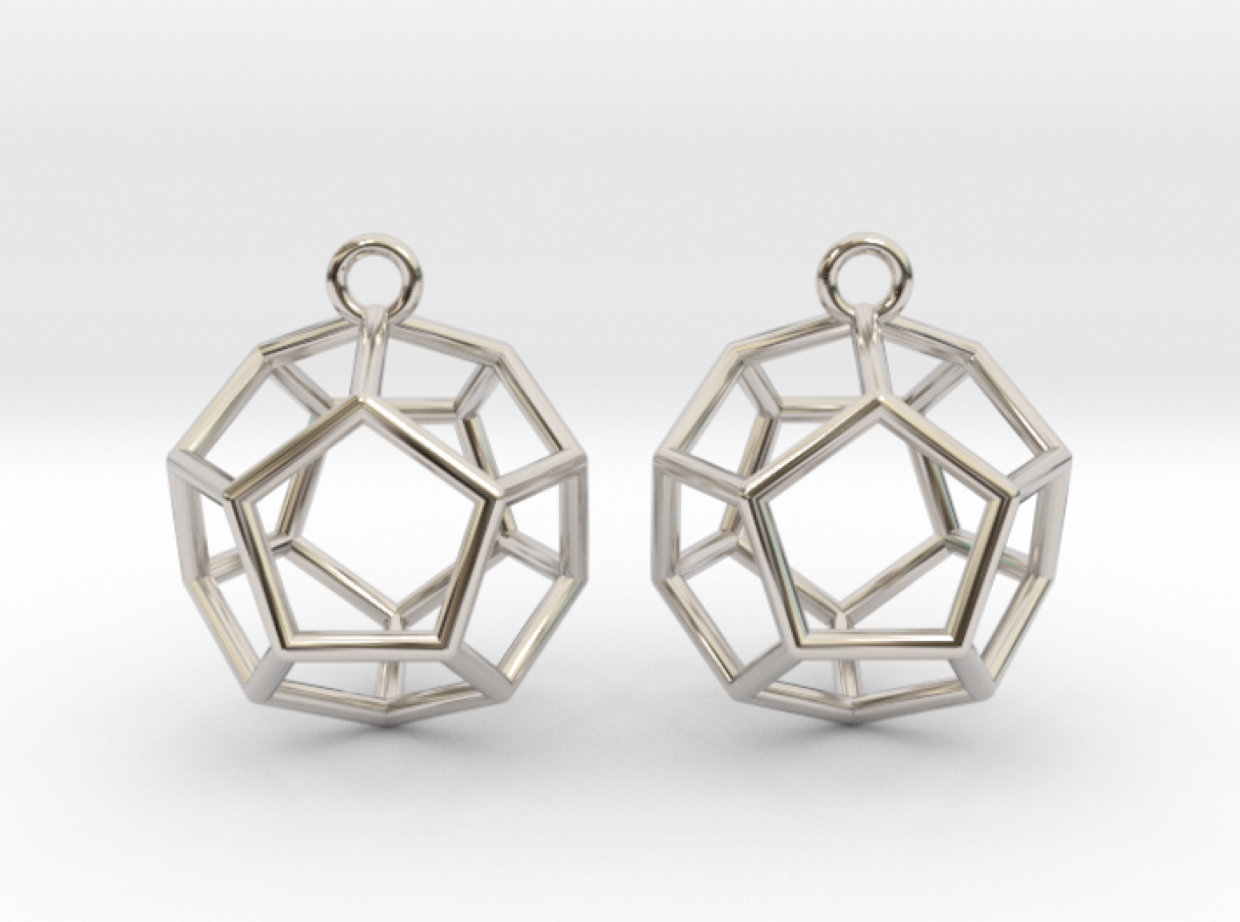 Dodecahedron wireframe earrings