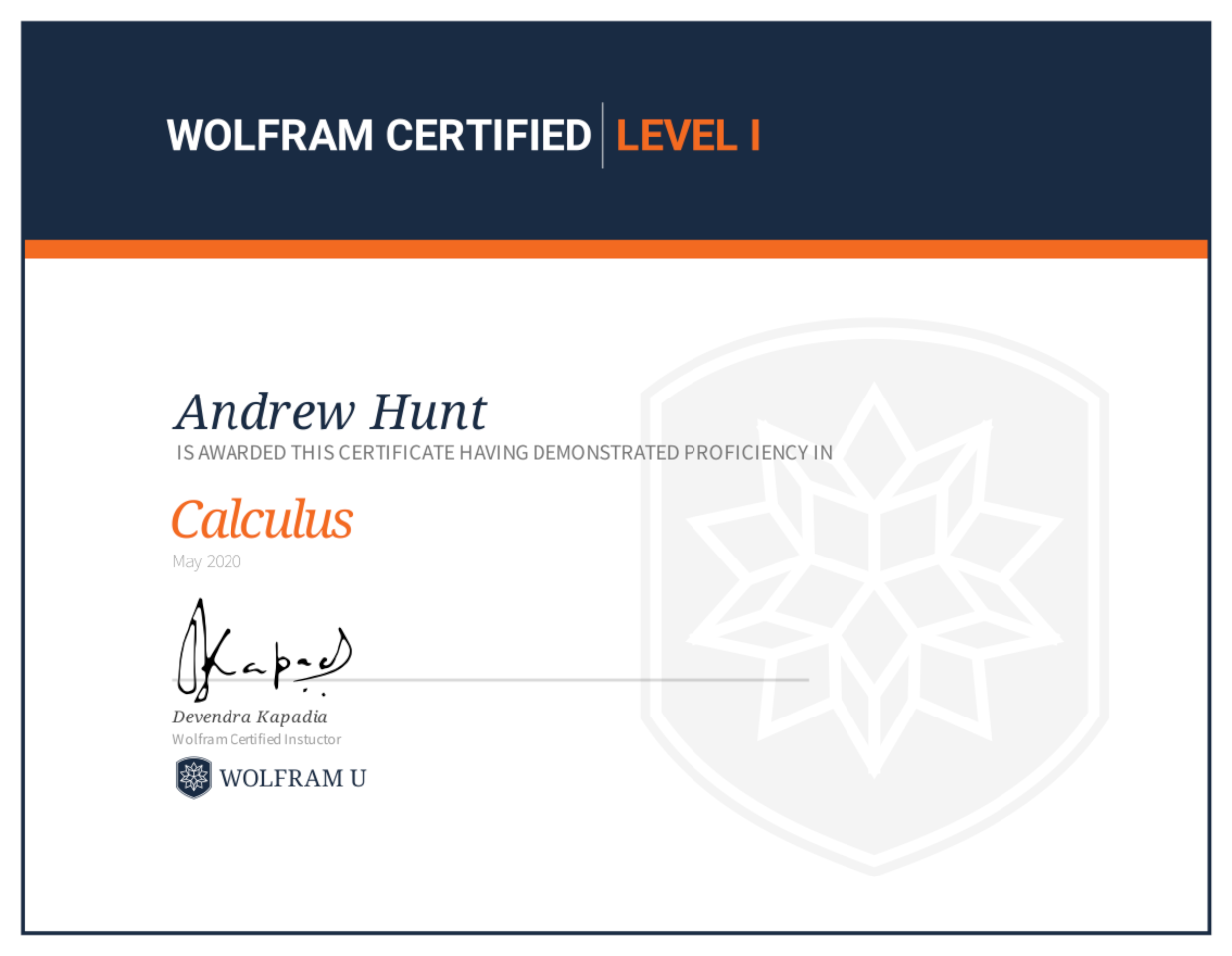 Wolfram Level 1 Certification