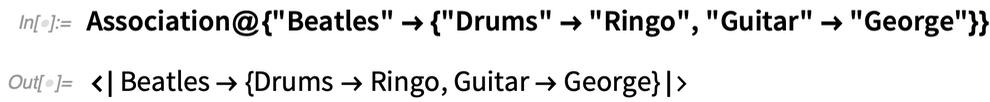 "Association@{""Beatles"" -> {""Drums"" -> ""Ringo"", ""Guitar"" -> ""George""}}"