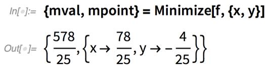 {mval, mpoint} = Minimize[f, {x, y}]