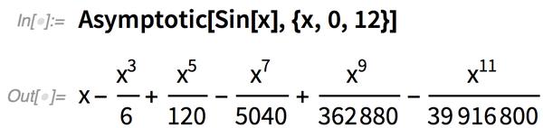 Asymptotic[Sin[x], {x, 0, 12}]