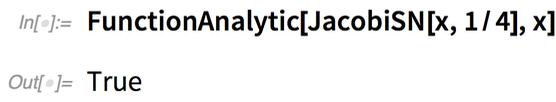 FunctionAnalytic[JacobiSN[x, 1/4], x]