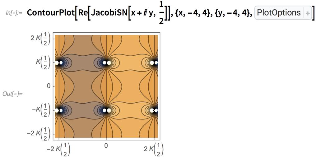 ContourPlot[  Re[JacobiSN[x + I y, 1/2]], {x, -4, 4}, {y, -4, 4}, Sequence[  Contours -> 20, FrameTicks -> {{{(-2) EllipticK[ Rational[1, 2]], -EllipticK[ Rational[1, 2]], 0,  EllipticK[ Rational[1, 2]], 2 EllipticK[ Rational[1, 2]]}, None}, {{(-2) EllipticK[ Rational[1, 2]], 0, 2 EllipticK[ Rational[1, 2]]}, None}}]]
