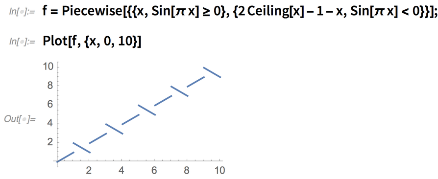 f = Piecewise[{{x, Sin[\[Pi] x] >= 0}, {2 Ceiling[x] - 1 - x,       Sin[\[Pi] x] < 0}}]; Plot[f, {x, 0, 10}]
