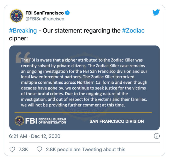 The FBI confirmation of the validity of our solution