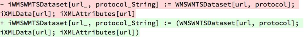 - iWMSWMTSDataset[url_, protocol_String] := WMSWMTSDataset[url, protocol]; iXMLData[url]; iXMLAttributes[url]