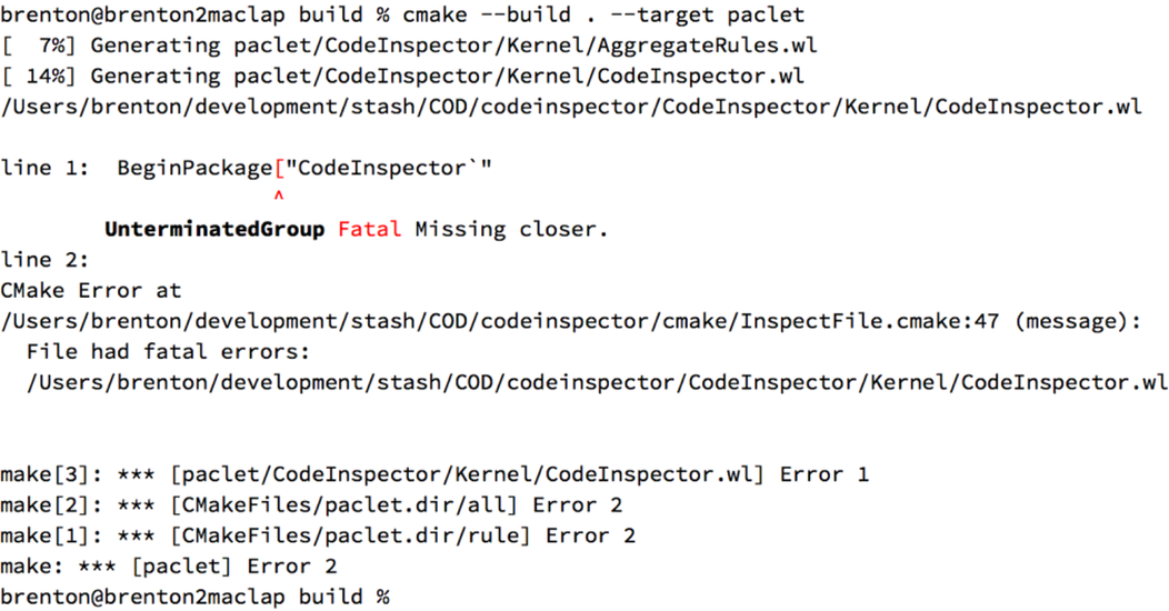 Typo found while building the CodeInspector paclet
