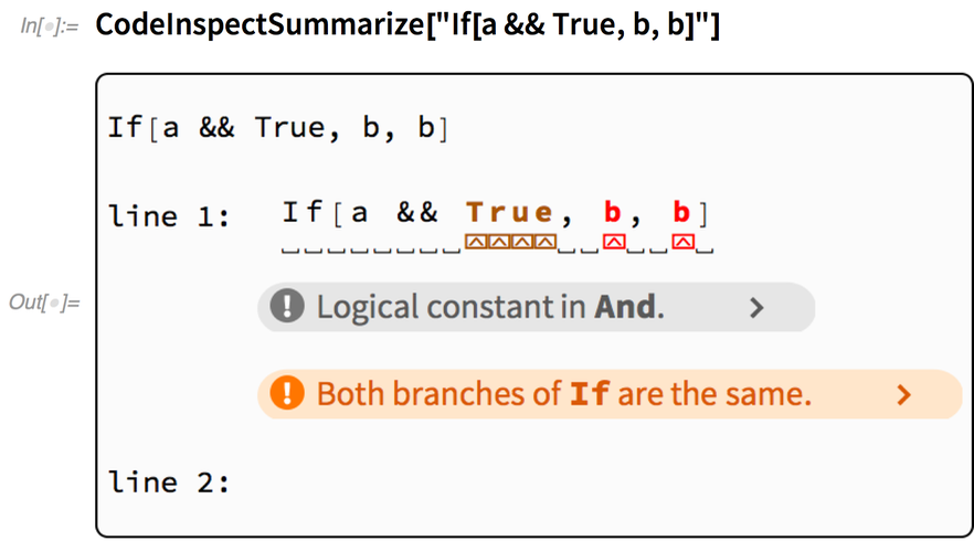 "CodeInspectSummarize[""If[a && True, b, b]""]"