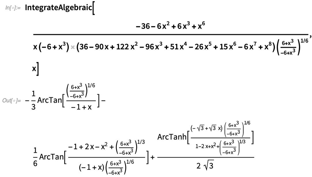 IntegrateAlgebraic