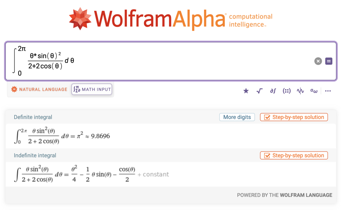 Complicated math expression displayed using Math Input