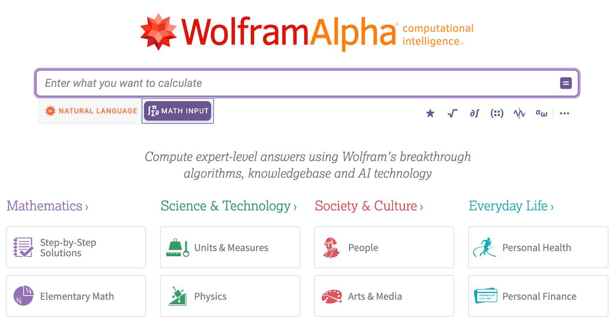 Wolfram|Alpha Math Input tab