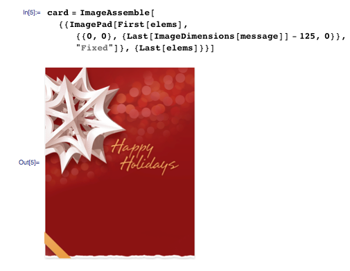 Assembling the card image with internal padding for the written message
