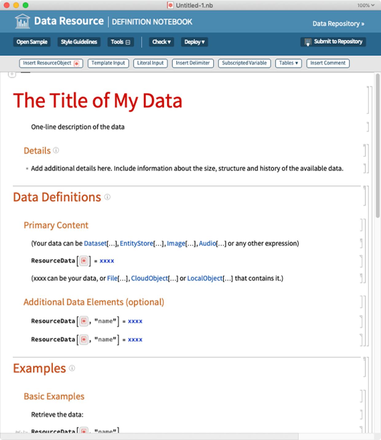 Data Resource Definition Notebook