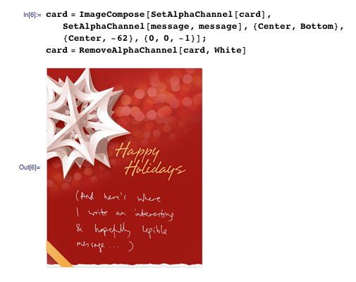 The final assembled card, with individualized handwriting