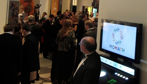 The MoMath logo generator in situ at the opening gala