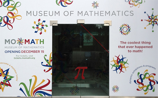 MoMath temporary entrance with logos