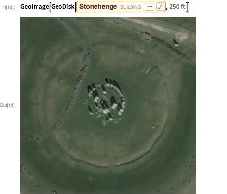 "GeoImage[GeoDisk[Entity[""Building"", ""Stonehenge::46k59""],    Quantity[250, ""Feet""]]]"
