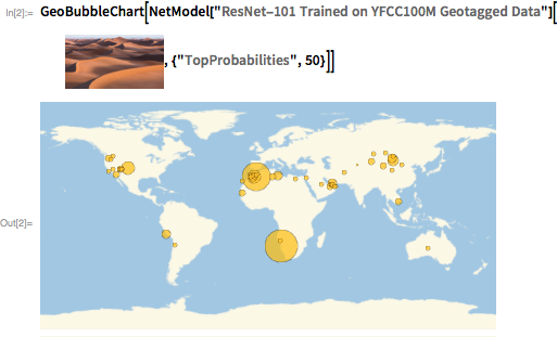 """GeoBubbleChart[NetModel[""""ResNet-101 Trained on YFCC100M Geotagged Data""""][""""<image suppressed>"""", {""""TopProbabilities"""", 50}]]"""