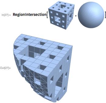 RegionIntersection[MengerMesh[2, 3],<br />  BoundaryDiscretizeRegion[Ball[{1, 1, 1}]]]