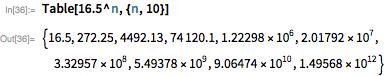 Table[16.5^n, {n, 10}]